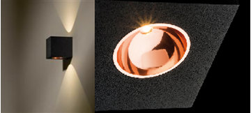 """Image de APPLIQUE LED """"BLOX UP/DOWN"""" 2X1,2W 727 NOIR/CUIVRE"""