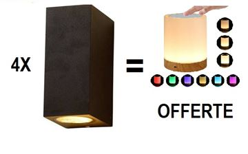 Image de PACK PROMO 4 APPLIQUES UP&DOWN NOIR CARRE + LAMPE D'AMBIANCE OFFERTE